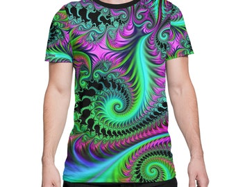 Fairy Forest - All Over Print Tee - Psychedelic - Fractal - LSD - NATURE -  Festival Clothing
