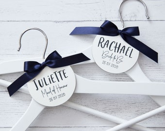 Personalised Wedding Bridal Party Wooden Heart Laser Engraved Coat Hanger Tag T1