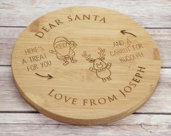 Personalised Wooden Santa Plate - Santa Plate - Christmas Eve Plate - Christmas Eve Wooden Father Christmas Plate - Personalised Santa Plate