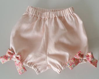 Bloom in pink linen for baby and girl