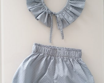 Pierrot collar set (removable) and bloomer