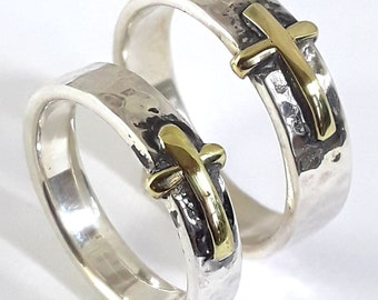 Cross Band Set  18k Gold plated & Sterling Silver Hand Made Hammer Finished