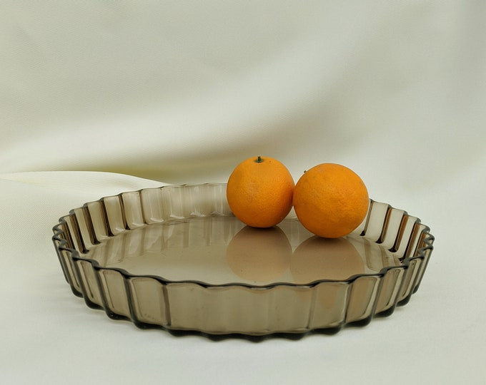 Made in France Arcopal Large Vintage Glass Serving Tart Pie Dish Tray - Brown