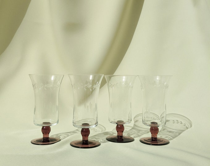 Two-Tone Etched Drinking Cocktail Glasses - Dark Pink