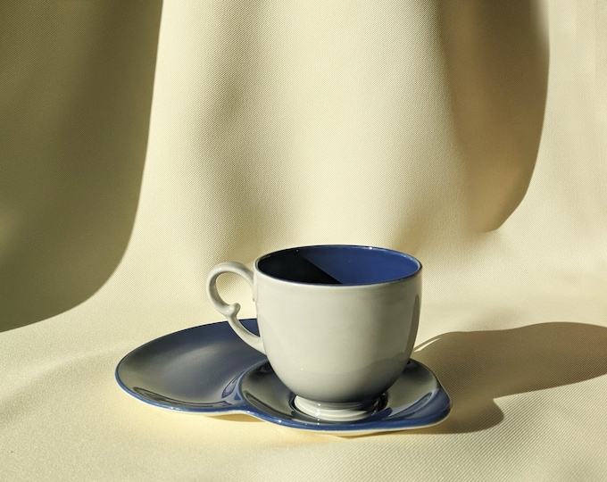 Made in England Crown Devon Retro Tea Cup Saucer and Biscuit Plate Set - Light Royal Blue Grey