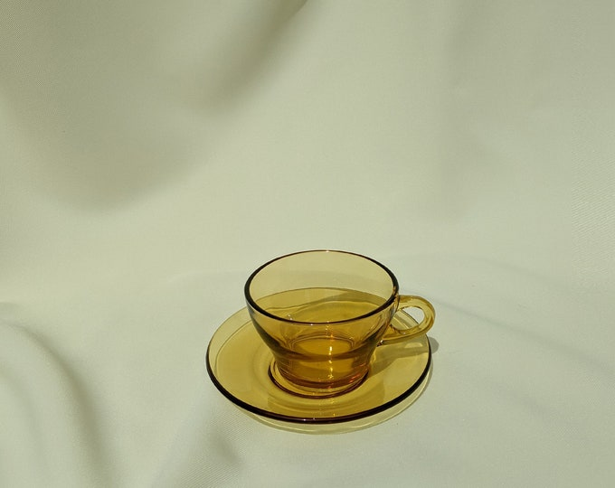 Vintage Retro Drinking Tea Cups with Saucer - Amber Glass