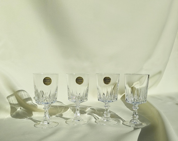 Vintage Made In France Cristal d'Arques Cocktail Drinking Glasses Set of 4 - Clear Glass