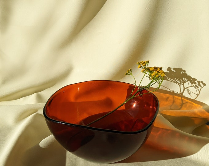Made In France Large Vintage Retro Glass Serving Dish Bowl - Amber Glass