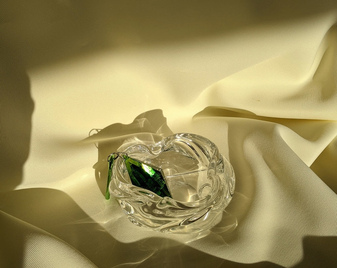 Organic Shaped Glass Crumbled Ball Decorative Bowl Paper Weight Ashtray - Clear Glass