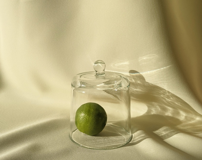 Small Handmade Glass Cheese Fruit Dome - Clear