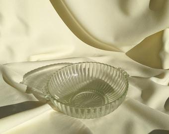 Large Vintage Decorative Glass Serving Fruit Bowl - Light Green Glass