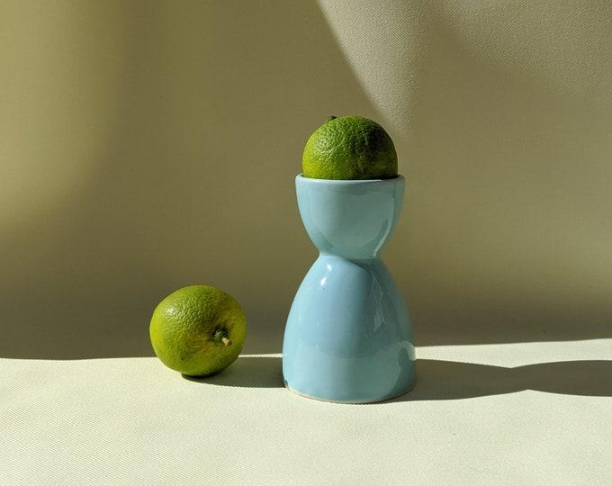 Made in Italy Vintage Ceramic Egg Cup Holder - Light Blue