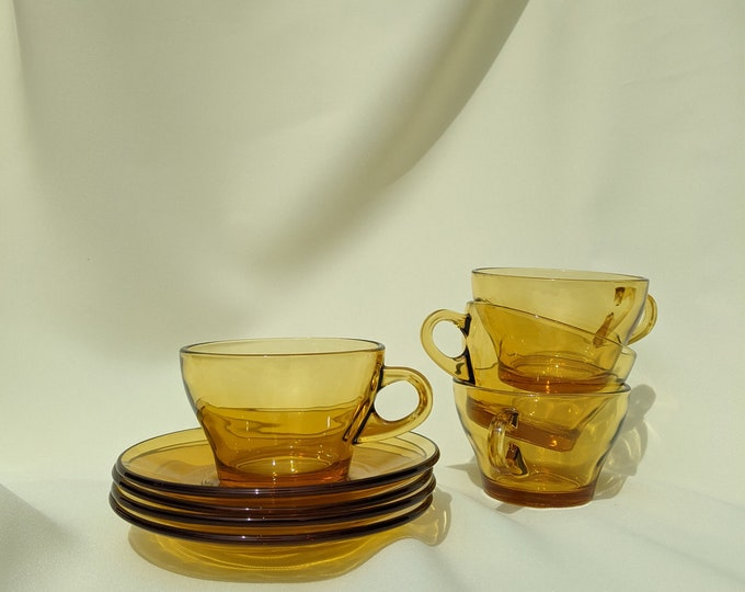 Vintage Retro Drinking Tea Cups with Saucer Set of 4 - Amber Glass
