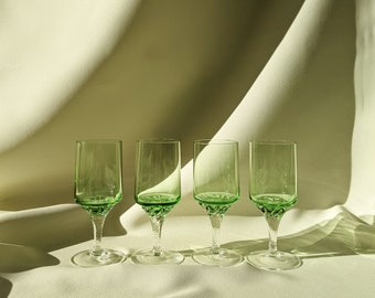 Vintage Astracolor Two-Tone Drinking Cocktail Glasses Set of 4 - Light Green/Clear