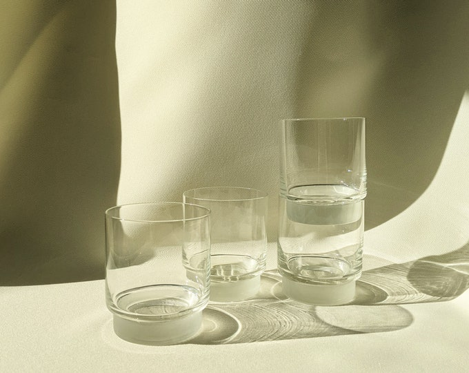 Mod Frost Base Clear Body Whiskey Cocktail Drinking Glass Set of 4 - Clear/Frost Glass