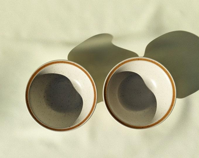 Made in Japan Bowl Set - Beige Speckled Orange Stripe