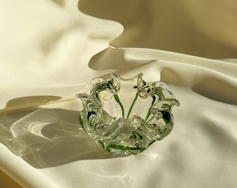 Floral Shaped Decorative Bowl Paper Weight Ashtray - Clear/Green Glass