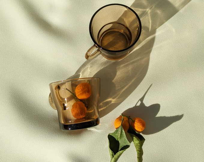 Made in France Vintage Duralex Drinking Tea Glass Cups Set of 2 - Amber Glass