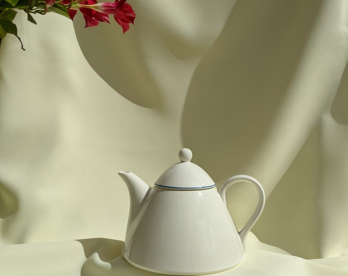 Made in Italy Vintage Large Ceramic Teapot - White Blue