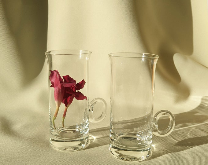Cocktail Drinking Glass Tumblers Novelty Sculptural Tall Set of 2 - Clear Glass