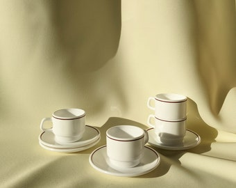 Made in France Vintage Arcopal Espresso Cup Saucer Set of 4 - White/Maroon