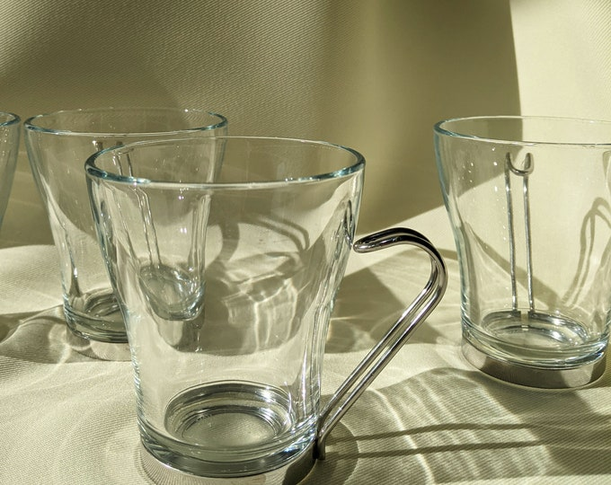 Made in Italy Vitrosax Retro Novelty Metal Handle Espresso Coffee Glass Cups - Silver/Clear Glass