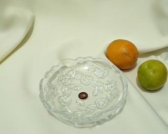 Vintage Walther Glas Catch All Decorative Bowl - Glass Floral