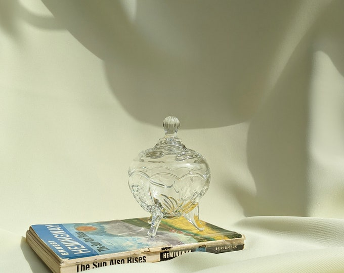 Jewelry Trinket Catchall with Lid - Clear Glass