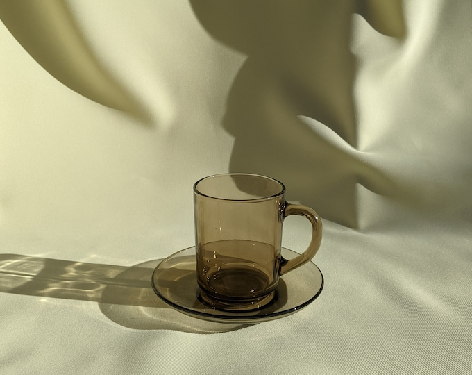 Vintage Retro Drinking Cup Saucer Set - Smokey Brown Glass
