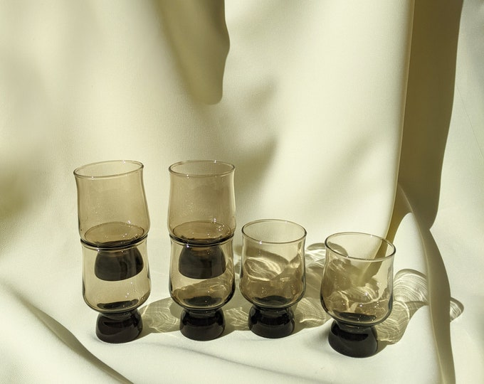 Made in Australia Vintage Crown Corning Stackable 1970's Drinking Whiskey Cocktail Glasses Set of 6 - Smokey Brown Glass