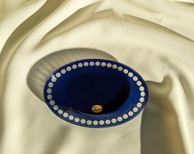 Vintage Made in Germany GU Decorglas Mod Glass Bowl Catchall Trinket Dish - Blue/Clear Glass