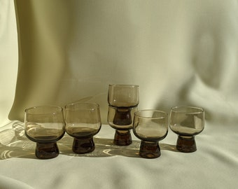 Made in Australia Vintage Crown Corning Stackable 1970's Drinking Whiskey Cocktail Glasses Set of 6 Small Medium Sizes - Smokey Brown Glass