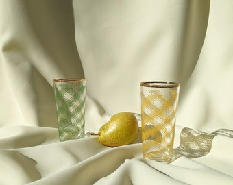 Retro Fun Printed Drinking Juice Cocktail Glass Set of 2 - Green Yellow Gold