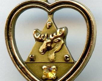 Loyal Order of Moose Heart FHC Pendant Charm