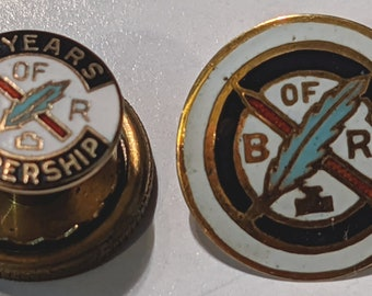 2 Brotherhood of Railroad B of R Feather and Pen Lapel Pins