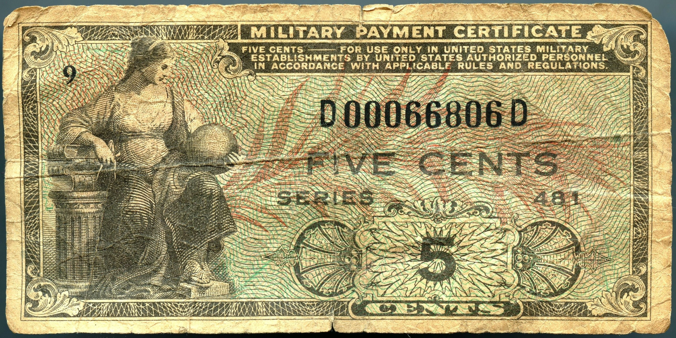 5 Cent Military Payment Certificate Series 481 Very Good Etsy