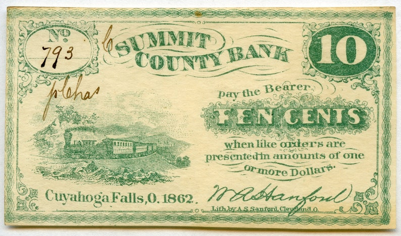 1862 Summit County Bank Ohio 10 cent fractional AU Issued Cuyahoga Falls