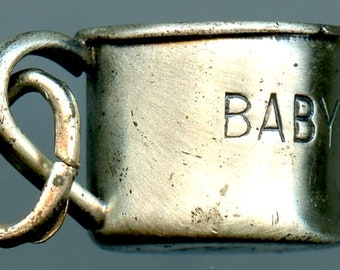 "Vintage Beau Sterling Silver Baby Mug Charm, 925 Silver ""Baby"""