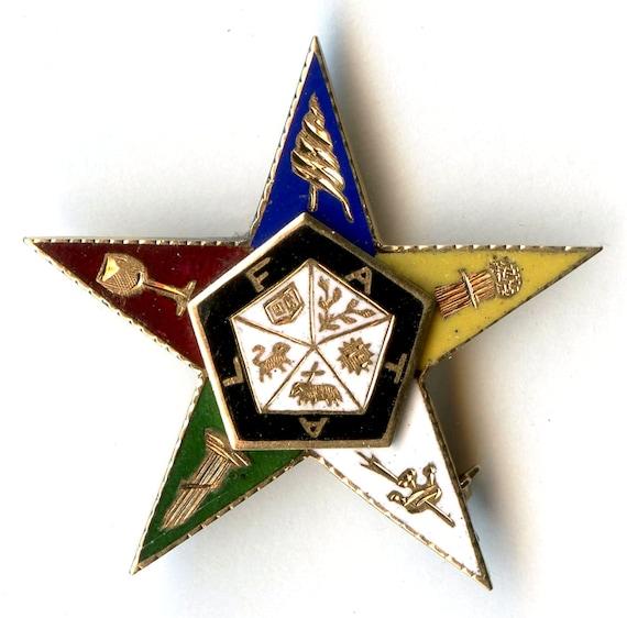 Eastern Star 14K Pin OES Brooch Lapel Pin