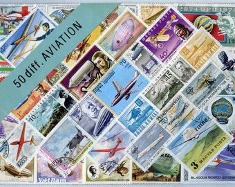 Aviation 50 Mixed Stamps Guaranteed All Different