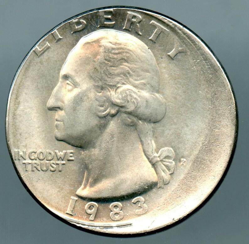 1983-P Washington Quarter Error Off-Center 10% Mint State condition