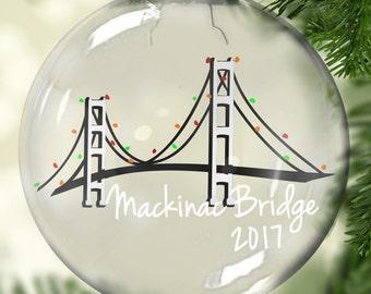 Mackinac Bridge Christmas Ornament - Michigan Ornament - Mackinac Bridge Christmas Gift - Michigan Theme Gift - Mackinaw Christmas