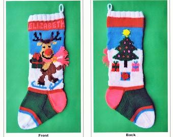 "PDF Pattern Only-""Reindeer on Skates"" Christmas Stocking"