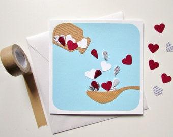 Get Well Card - Sick Card - Medicine Bottle Card - Health Card - Feel Better Card - Medicine and Hearts Card - Handmade Card - Vintage Card
