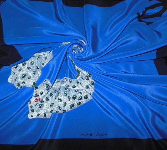 CARTIER Paris authentique foulard tuch silk scarf Must de   Etsy 2769cb911d3