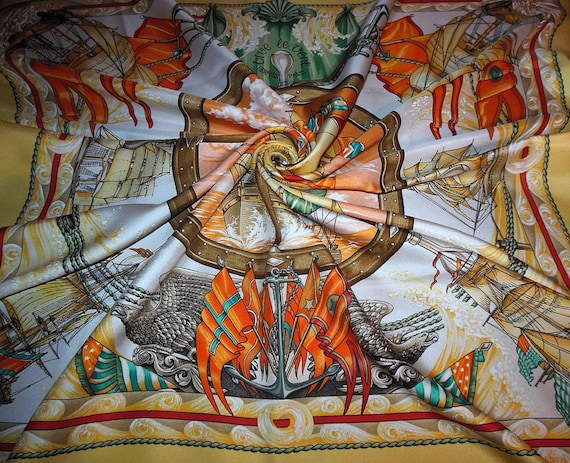 """HERMÈS scarf """"Long live the wind"""" by L.Thioune / S"""