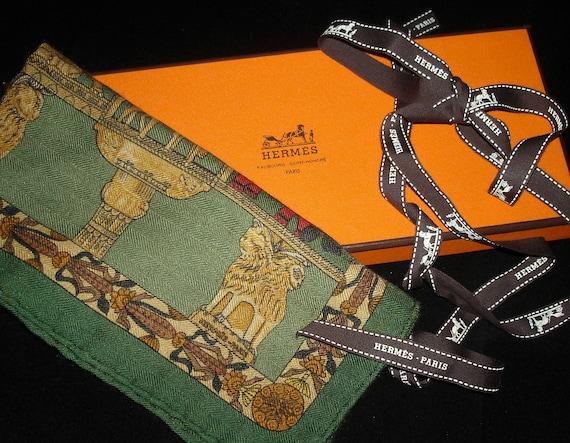 "Hermes scarf ""TORANA"" / Silk Cashmere pocket Scarf"