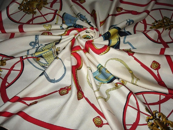 "HERMES scarf "" SPRING "" by Ledoux / Silk Scarf Her"