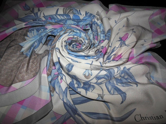 DIOR scarf pink, blue, grey /Vintage Collection Si