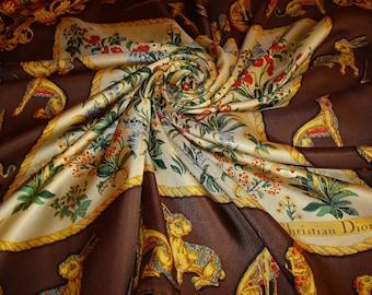 CHRISTIAN DIOR silk scarf / PROMOTION! Free shipping. Dior scarf